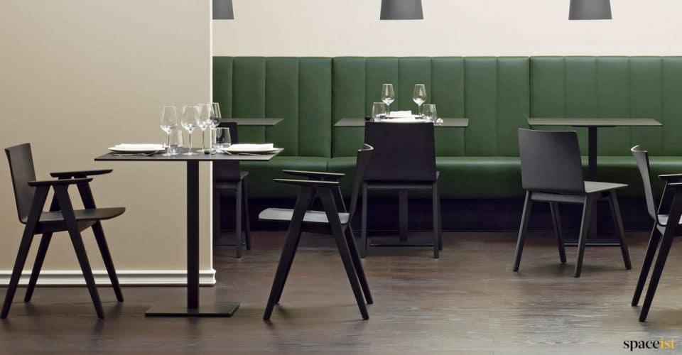 Inox black designer square cafe table