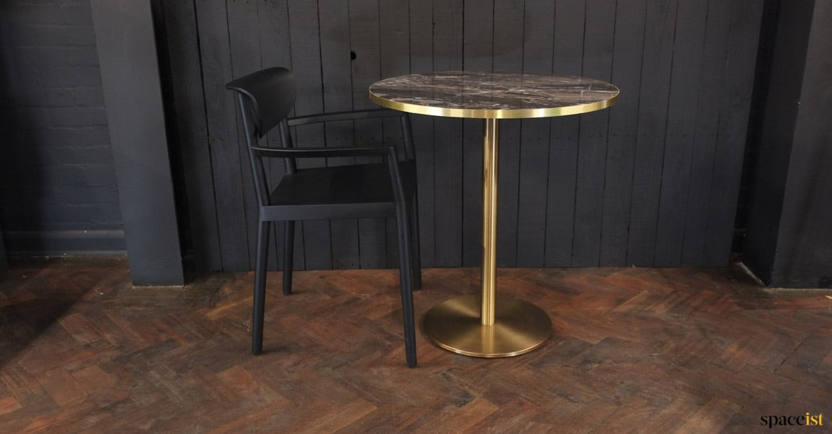 marble cafe tables inox brass bistro table spaceist furniture london. Black Bedroom Furniture Sets. Home Design Ideas