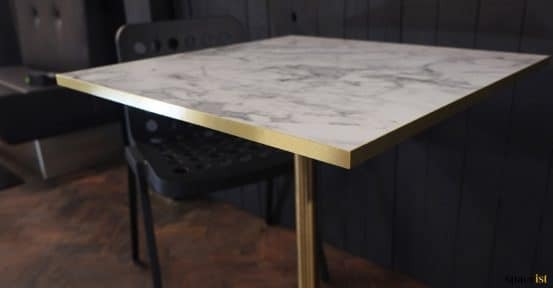 white marble + brass close-up