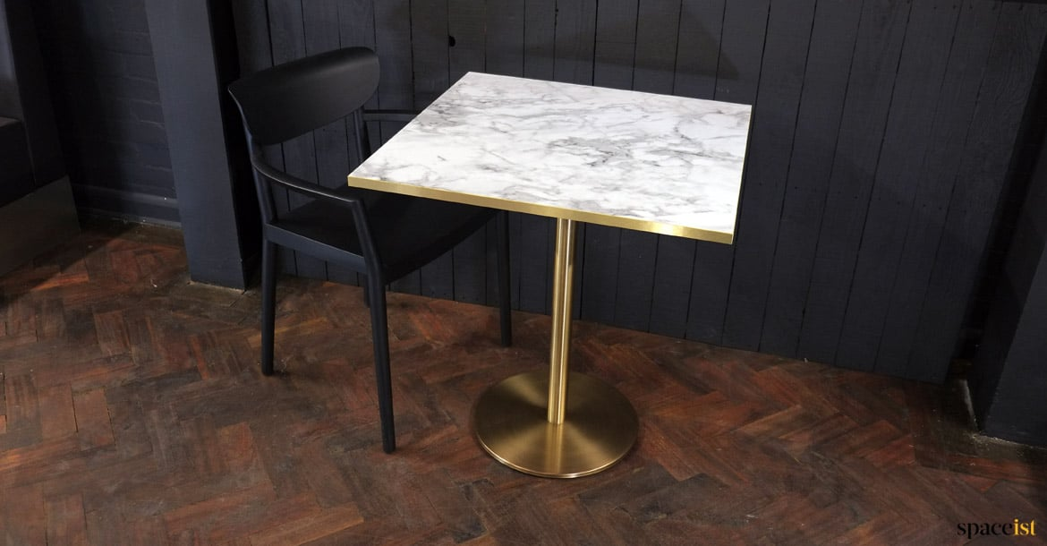 White Marble Amp Brass Cafe Table Spaceist