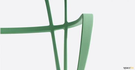 Grenn metal chair closeup