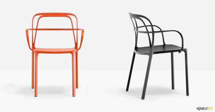 Orange + black metal chair