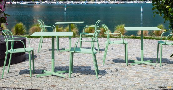 Green outdoor cafe table