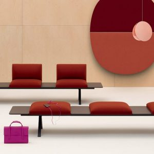 Designer seating with tables