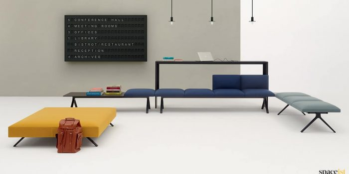 Long blue designer seating
