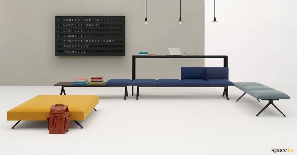 Long blue designer seating