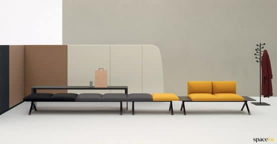 Long yellow + grey seating
