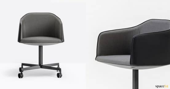 Laja black leather meeting chair