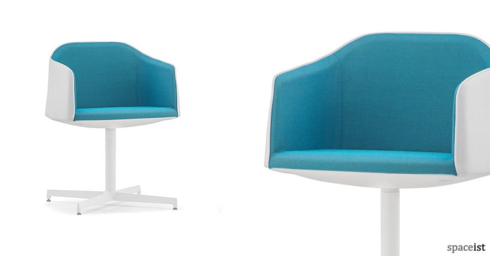 Laja blue with white leather chair with central base