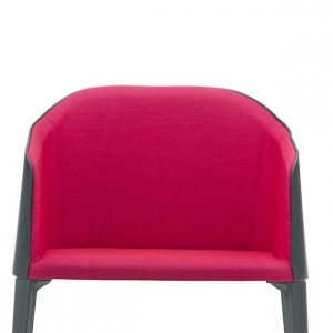Laja black leather with pink fabric meeting chair