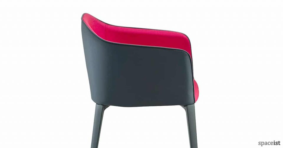 Laja black leather with pink fabric seat