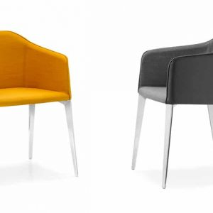 Laja yellow and grey meeting chair with polished metal leg