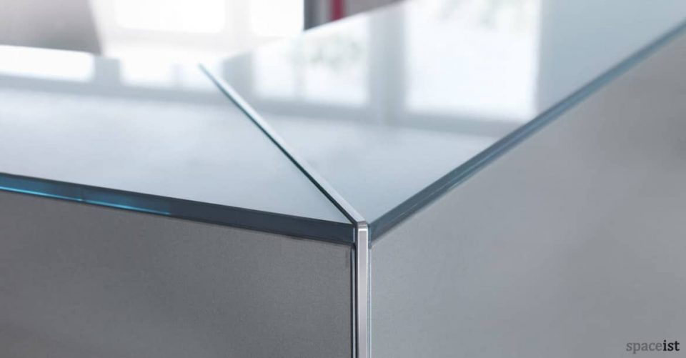 Lina reception desk close of glass corner