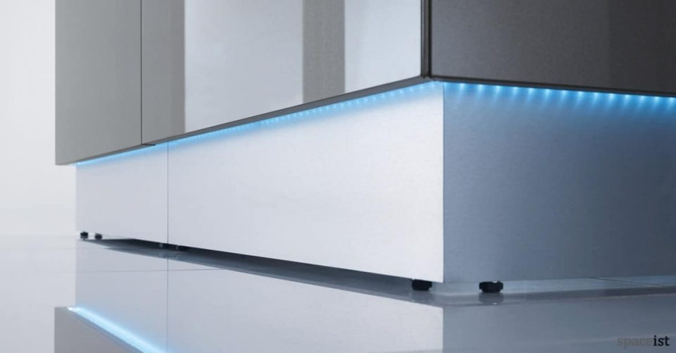 Lina glass reception desk with LED down lights