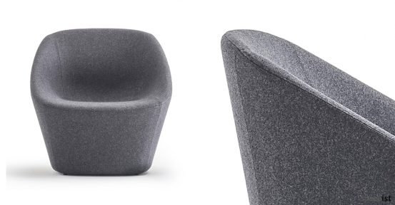 Log wide reception chair in grey fabric