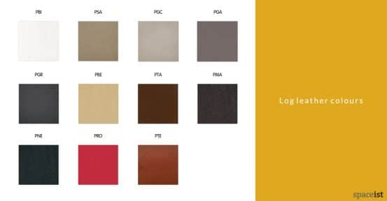 Log wide reception chair leather colours