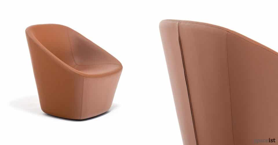 Log designer tan leather reception chair