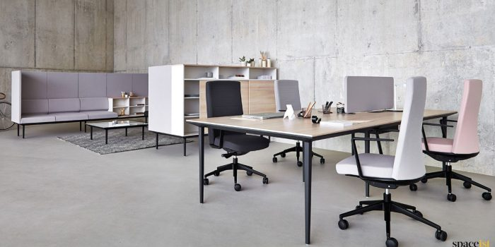 Long wood + black 4 person designer desk