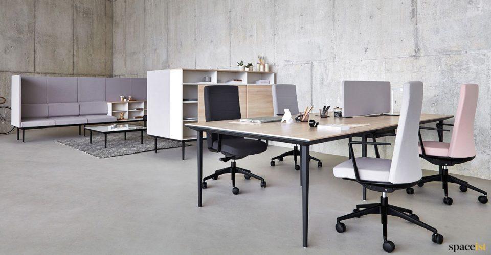 Long wood + black 4 person designer desk