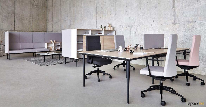 bench desks long black 4 person desk spaceist office furniture