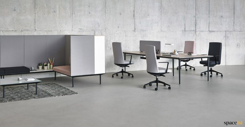 Office desk with dividing fabric screen