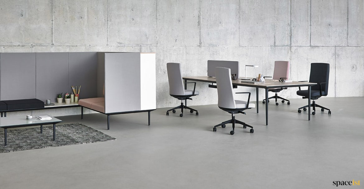 long office table. office desk with dividing fabric screen long table