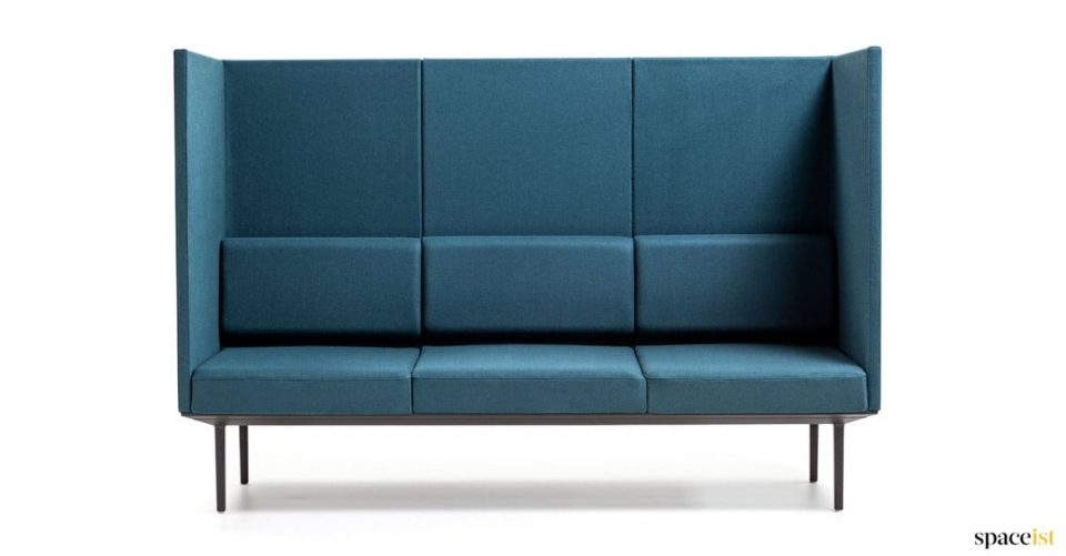 High back clinic reception sofa in dark blue