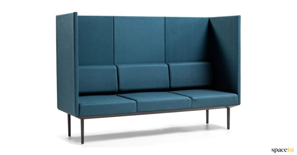 Blue very high back reception sofa