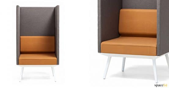 High back reception chair in orange + brown