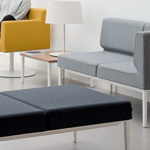 Longi compact small reception sofa grey