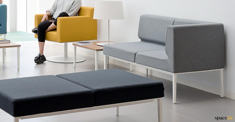 Longi Compact Small Reception Sofa Grey