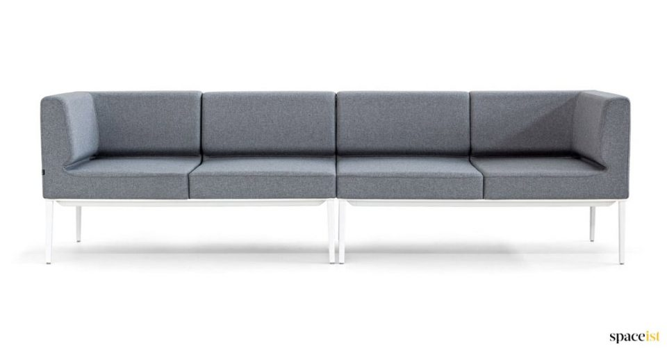 Designer very long office sofa in grey