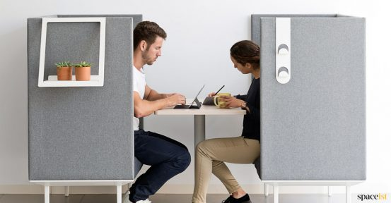 Longi high-back office sofa in grey fabric