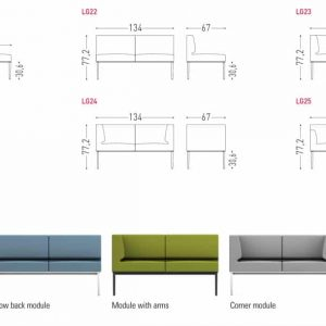 Longi compact office sofa sizes