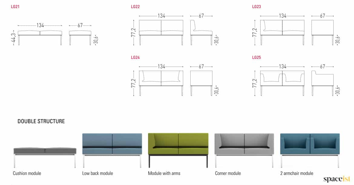 Sofa Sizes modular sofas | longi compact sofa : spaceist reception furntiure