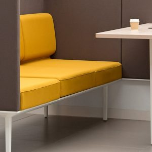 Longi office booth in brown + yellow