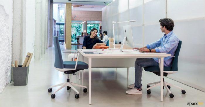 Long white office desk