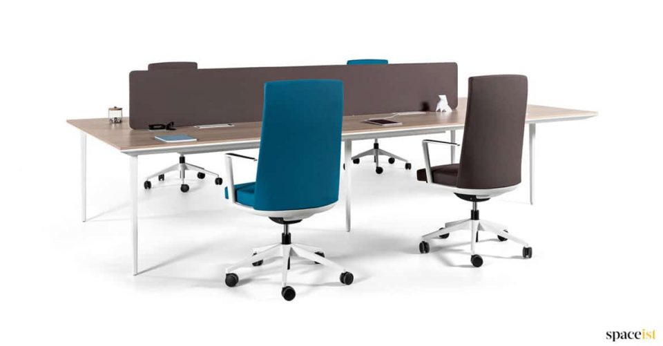 Four person white office desk with a wood top