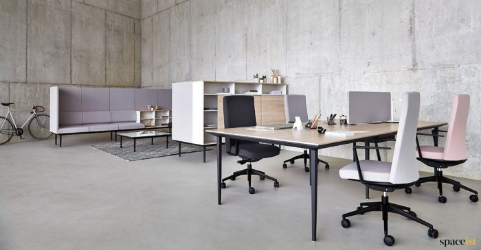 Foru person designer bench desk black