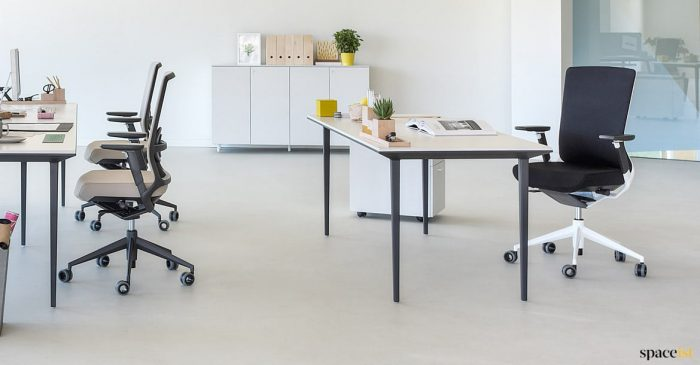 Black executive desk white top