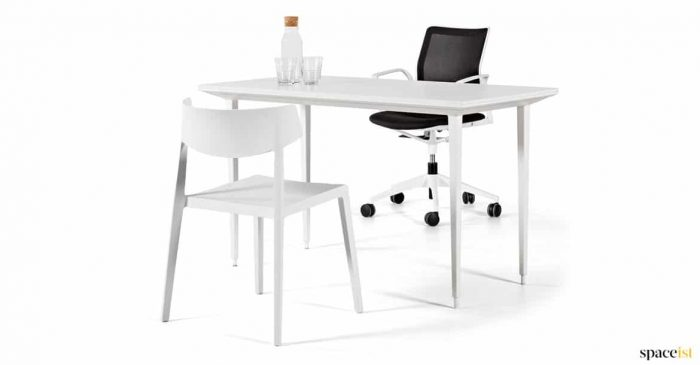 White height adjustable desk with chair