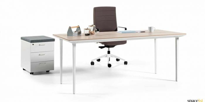 White + oak directors desk