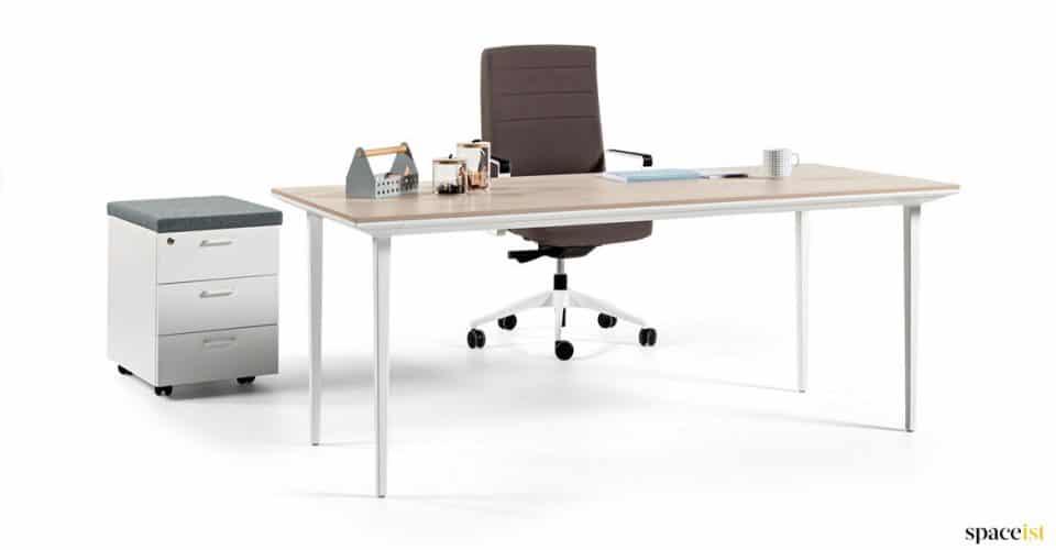 White + oak directors desk