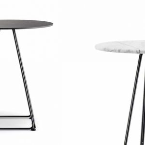 Luna pyramid style cafe table with black round top