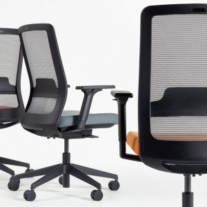 Max task chair with a red + orange seat