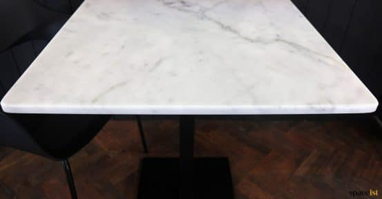 Solid white marble top closeup