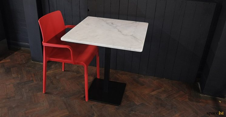 Marble pizza table red chair
