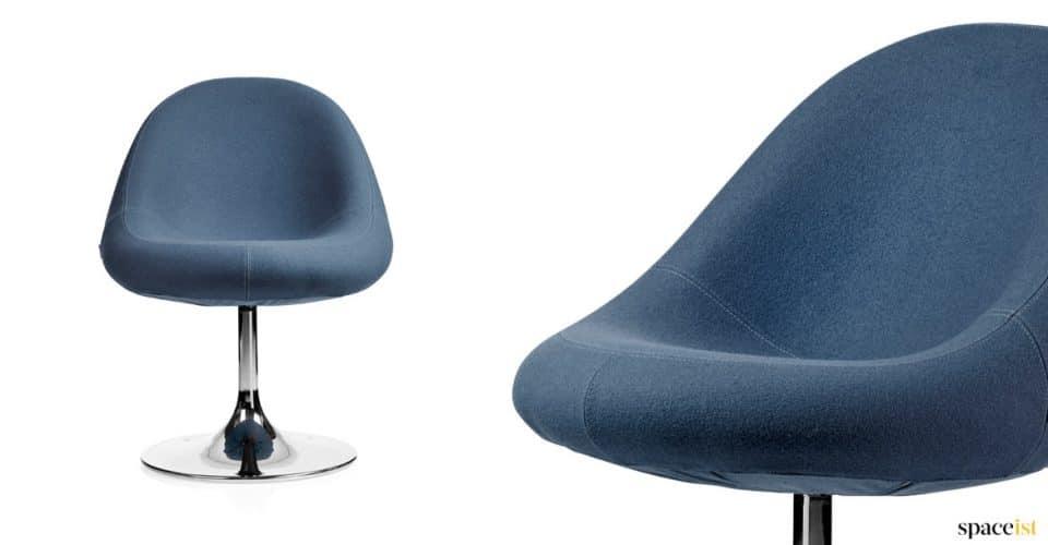 Media blue reception chair with a chrome base