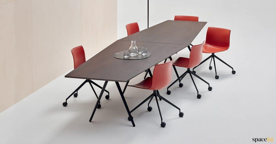 dark meeting table in two sections