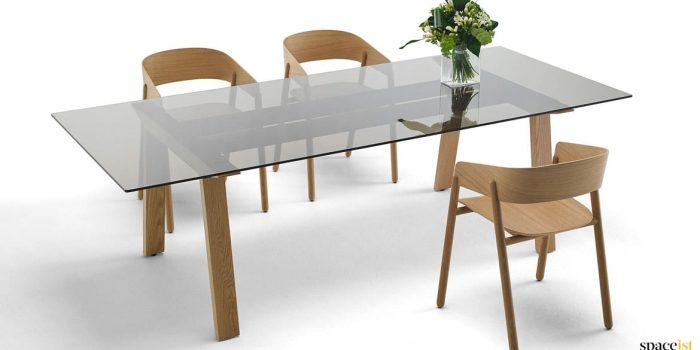 Glass and oak meeting table